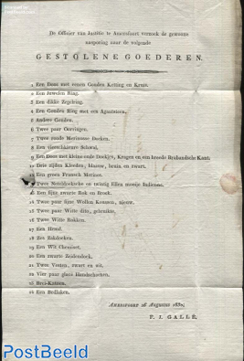 Letter from Amersfoort to Woudenberg (to major with information about stolen items)