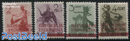 Java, dancers with REPOEBLIK INDONESIA overprints 4v