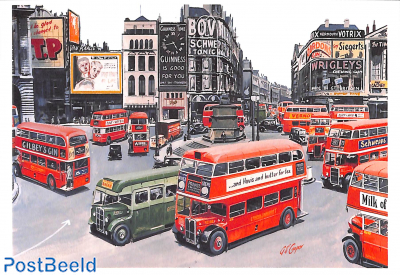 Buses at Piccadilly 1949