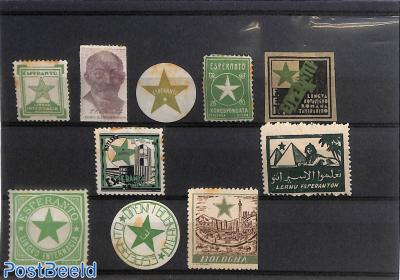 Collection of Esperanto seals 10v (some brown spots)
