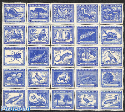 Nature history sheetlet 60c blue 25x