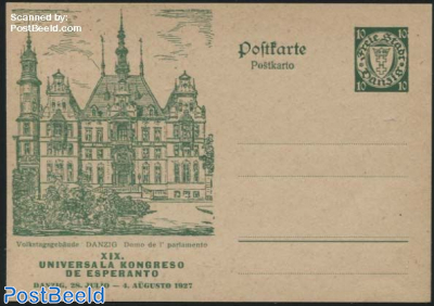 Illustrated postcard, Esperanto, Volkstaggebaude
