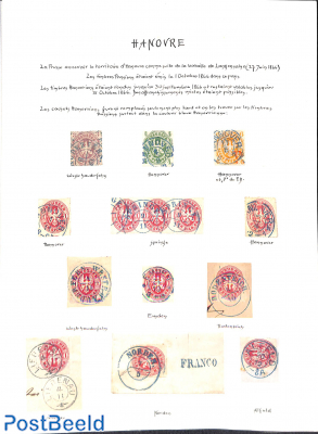 Small specialized collection Hannover postmarks on Prusia stamps on 2 pages