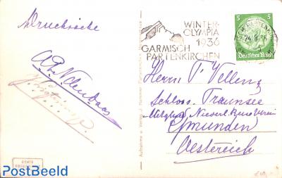 Postcard with prom. postmark Olympic winter games Garmisch Partenkirchen