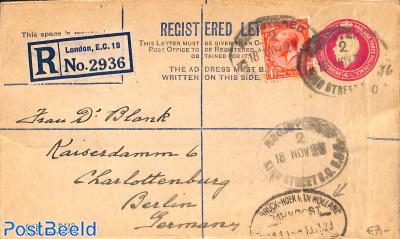 Registered Letter Envelope 4.5d, uprated to Berlin, with postmark Bahnpost Osnabrück-Hoek van Hollan
