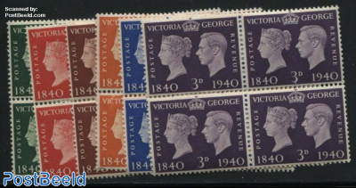 Stamp centenary 6v, Blocks of 4 [+]