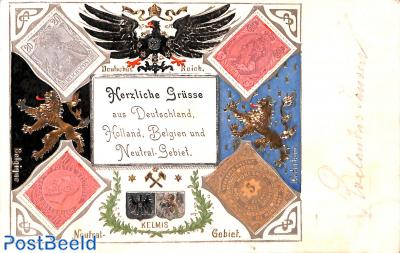 Herzliche Grüsse aus Deutschland, Holland, Belgien und Neutral-Gebiet (Moresnet)