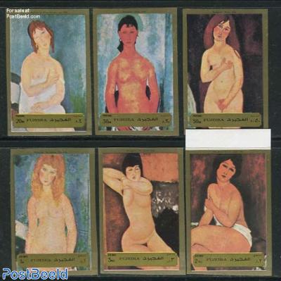 Modigliani 6v, imperforated
