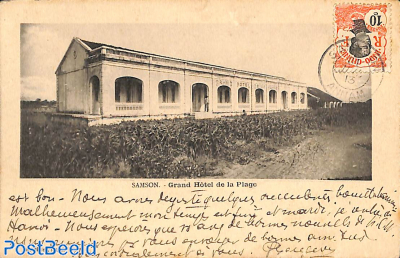 Postcard Samson, Grand Hotel de la Plage, with stamp on frontside, sent to Hanoi