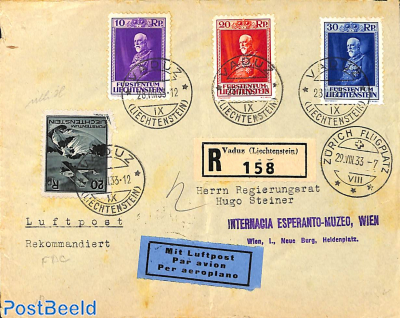 Registered airmail letter  to Vienna, first day cancellation for Franz I set (28/08/1933)