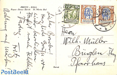 Postcard with 2x5Rp and 1x10Rp stampfrom Vaduz to Bürglen