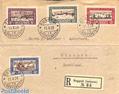 Innondation fund 4v on front of registered letter