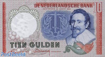 10 Gulden 1953 3 Letters 6 Digits