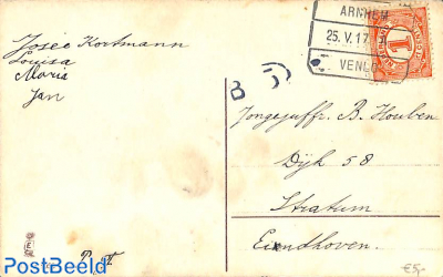 Postcard to Eindhoven, see postmark from Anrhem. RAILWAY POST