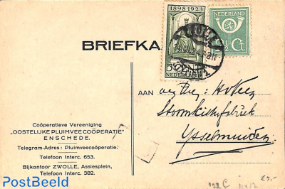 Postcard with NVPH 122c and 112, poultry co-operation