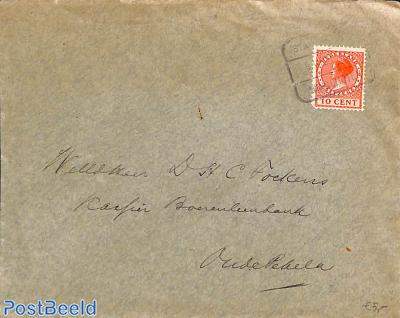 envelope to Oude Pekela from Nieuwe Pekela, Railway postmark