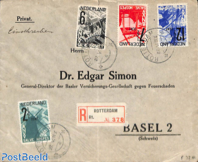 Registered letter to Switzerland with ANVV set