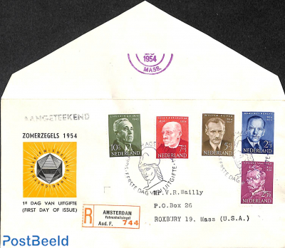 Famous persons FDC, open flap, typed address, registered