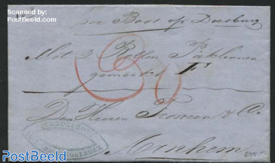 Invoice sent from Amsterdam to Arnhem by ship to Doesburg (Schroefboot)
