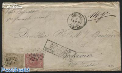 Ship Mail, Scheepspost, from Gouda to Batavia Postmark: Ned-Indie via Brindisi Britsche Pakketb.