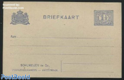 Postcard with private text, 1.5c, Bohlmeijer Amsterdam