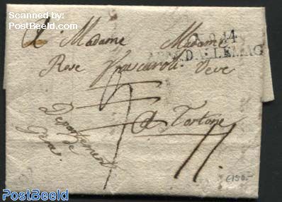 Letter from Vienna to Tortone (Genua dep.) sent on october 1, army of Napoleon, Cancellation: No. 44