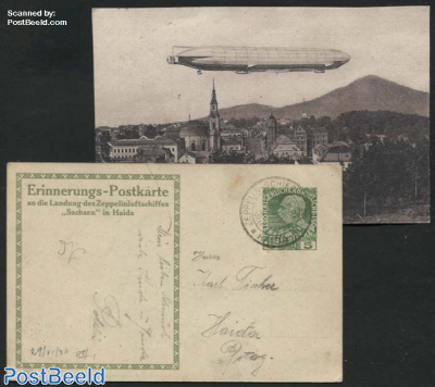 Illustrated postcard Zeppelin ship Sachsen in Haida with special cancellation