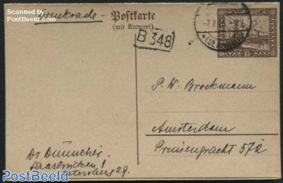 Reply Paid Postcard to Amsterdam