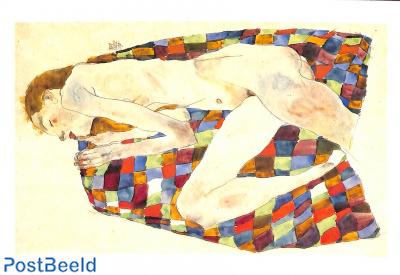 Egon Schiele, Nu feminin sur couverture bariolé, 1911