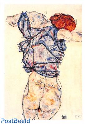 Egon Schiele, Frau die sich auskleidet 1914
