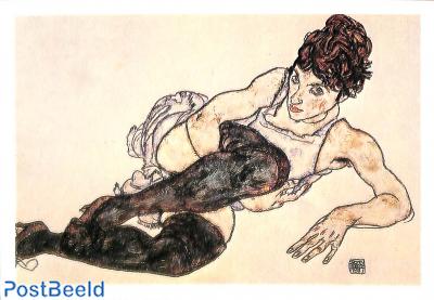 Egon Schiele, Liegende Frau mit grünen Strümpfe