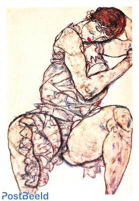 Egon Schiele, Sitzende frau mit Linker Hand im Haar, 1914
