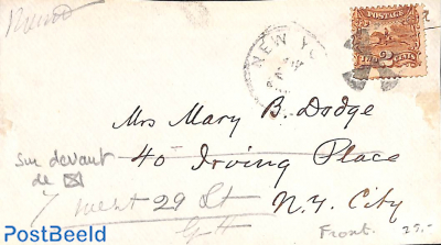 Frontside of cover with 2c stamp