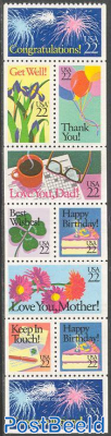 Greeting stamps booklet pane