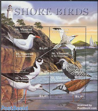 Shore birds 6v m/s (lighthouse on border)