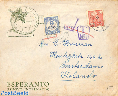 Letter to Amsterdam, dutch postage due 9c.