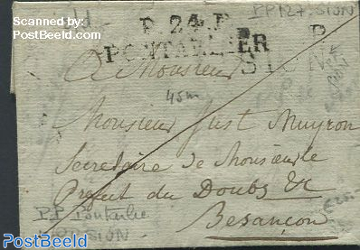 Folding letter from Zwitserland to Besancon, France